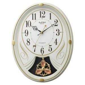 リズム時計 電波掛時計 振子時計/スモールワールドリリィN メロディ6曲/アイボリー 4MN554RH10 (取)|ajewelry