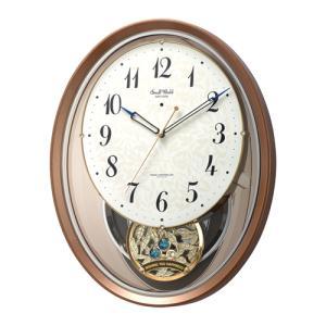 リズム時計 電波掛時計 振子時計 アミュージングクロック/スモールワールドエアルN J-POPメロディ収録/茶メタリック色 4MN555RH06(取) ajewelry