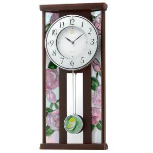 リズム時計 JAPAN MADE 電波掛時計 振子時計/RHG-M007 ステンドグラス 木枠 4MX406HG06(取寄せ/代引不可)|ajewelry