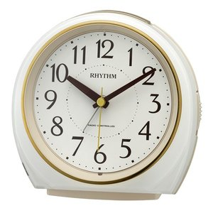 リズム時計 電波目覚まし時計/フィットウェーブ A438 ジャストアラーム/白パール色 4RL438SR03(取)|ajewelry