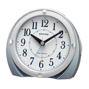 リズム時計 電波目覚まし時計/フィットウェーブ A439 ジャストアラーム/青メタリック色 4RL439SR04(取)|ajewelry