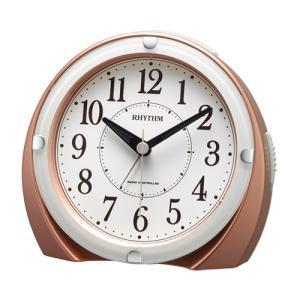 リズム時計 電波目覚まし時計/フィットウェーブ A439 ジャストアラーム/ピンクゴールド色 4RL439SR13(取)|ajewelry