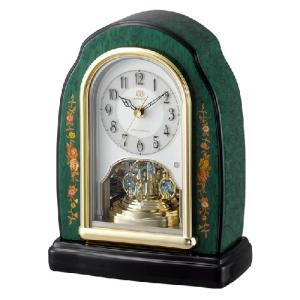 リズム時計 電波置時計 イタリア製象嵌細工/RHG-S41 緑象嵌仕上げ 木枠 回転飾り 4RY678HG05(取寄せ/代引不可)|ajewelry