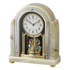リズム時計 電波置時計/RHG-S54 オニックス枠時計 回転飾り 4RY692HG05(取寄せ/代引不可)|ajewelry
