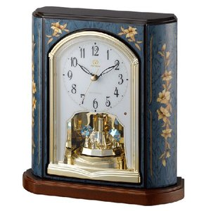 リズム時計 日本製象嵌細工 電波置時計/RHG-S69 青象嵌仕上げ 木枠 回転飾り 4RY701HG04(取寄せ/代引不可)|ajewelry