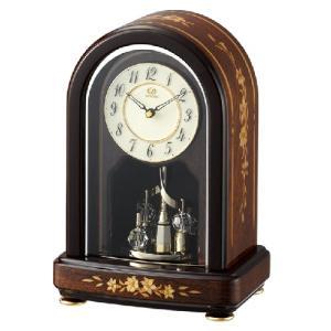 リズム時計 日本製象嵌細工 クオーツ置時計/RHG-S70 茶色象嵌仕上げ 木枠 回転飾り 4SG786HG06(取寄せ/代引不可)|ajewelry