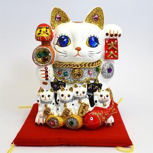 招き猫/親子招福(大) 貯金箱 ネコ 縁起物 和風 C162/880130(取寄せ/代引不可)パール|ajewelry