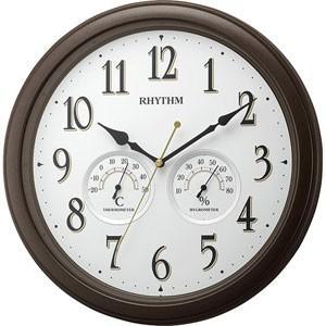 RHYTHM(リズム時計) クオーツ掛時計/オルロージュインフォート M37 温湿度計付き 茶メタリック 8MGA37SR06(取寄せ/代引不可)|ajewelry