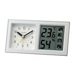 リズム時計 クオーツ 目覚まし時計/ルームナビ R678 高精度温湿度計付 環境目安表示付/ホワイト 8RE678SR03(取)|ajewelry