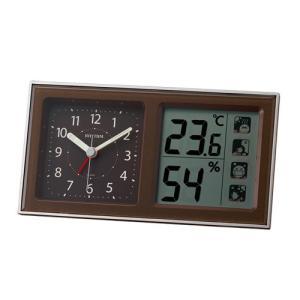 リズム時計 クオーツ 目覚まし時計/ルームナビ R678 高精度温湿度計付 環境目安表示付/茶メタリック色 8RE678SR06(取)|ajewelry
