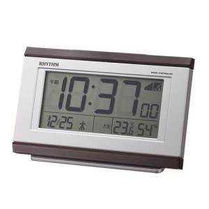 リズム時計 電波目覚まし時計/フィットウェーブ D161 温湿度計付/茶色木目調 こげ茶 8RZ161SR06(取)|ajewelry
