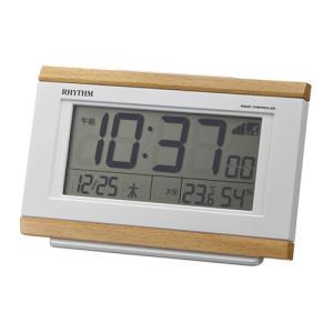 リズム時計 電波目覚まし時計/フィットウェーブ D161 温湿度計付/薄茶色木目調 8RZ161SR07(取)|ajewelry