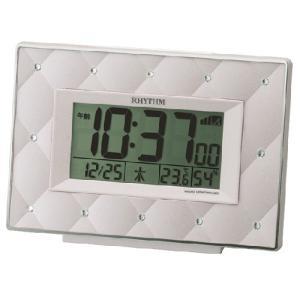 リズム時計 スワロフスキー付き デジタル電波目覚まし時計/フィットウェーブアビスコ ピンクパール色 8RZ167SR13(取)|ajewelry