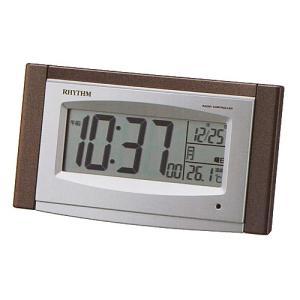 リズム時計 ソーラー電源 デジタル電波目覚まし時計/フィットウェーブソーラー D190 温度表示 8RZ190SR06(取)|ajewelry