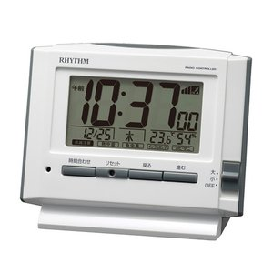 リズム時計 デジタル電波目覚まし時計/フィットウェーブ D222 温湿度表示 環境目安表示付/ホワイト 8RZ222SR03(取)|ajewelry