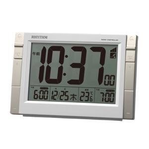 リズム時計 デジタル電波目覚まし時計/フィットウェーブD223 Wアラーム 温度表示/ホワイト 8RZ223SR03(取)|ajewelry