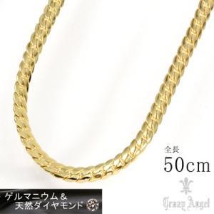 Crazy Angel/ゲルマニウム&天然ダイヤモンド ネックレス へリンボーンチェーン 紋章 真鍮 ゴールドカラー 50cm 7mm幅 CAG-101-G50(取寄せ/代引不可)|ajewelry