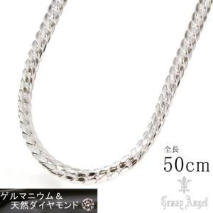 Crazy Angel/ゲルマニウム&天然ダイヤモンド ネックレス へリンボーンチェーン 紋章 真鍮 シルバーカラー 50cm 7mm幅 CAG-101-R50(取寄せ/代引不可)|ajewelry