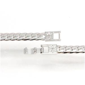 欠品/Crazy Angel/ゲルマニウム&天然ダイヤモンド ネックレス へリンボーンチェーン 紋章 真鍮 シルバーカラー 60cm 7mm幅 CAG-101-R60(取)|ajewelry|02