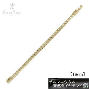 Crazy Angel/ゲルマニウム&天然ダイヤモンド ブレスレット ヘリンボーンチェーン 喜平 紋章 真鍮/イエローゴールドカラー 18cm CAG-201-G18(取)共栄|ajewelry