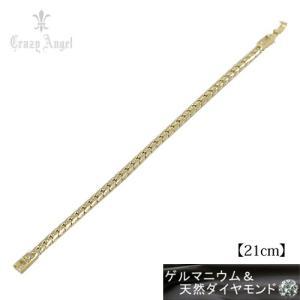 Crazy Angel/ゲルマニウム&天然ダイヤモンド ブレスレット ヘリンボーンチェーン 喜平 紋章 真鍮/イエローゴールドカラー 21cm CAG-201-G21(取)共栄|ajewelry