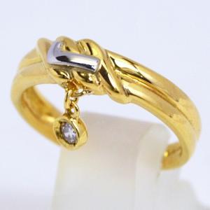 即納/LANCEL(ランセル) K18ゴールド プラチナPt900/ダイヤモンド デザインリング F0060(代引不可)|ajewelry