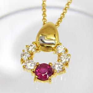 即納/LANCEL(ランセル) K18ゴールド/ルビー ダイヤモンド ペンダント F0089(代引不可)|ajewelry