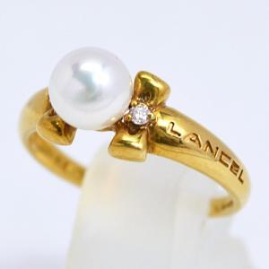 即納/LANCEL(ランセル) K18ゴールド/パール 真珠 ダイヤモンド デザインリング F0187(代引不可)|ajewelry