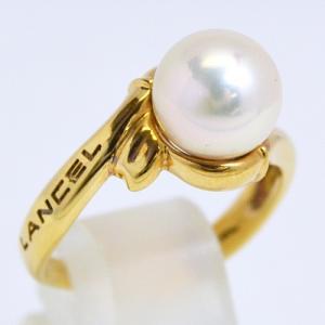 即納/LANCEL(ランセル) K18ゴールド/パール 真珠 デザインリング F0195(代引不可)|ajewelry