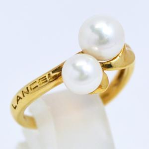 即納/LANCEL(ランセル) K18ゴールド/パール 真珠 デザインリング F0196(代引不可)|ajewelry