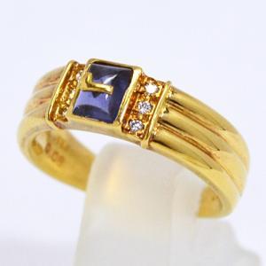 即納/LANCEL(ランセル) K18ゴールド/アイオライト ダイヤモンド デザインリング F0214(代引不可)|ajewelry
