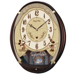 SEIKO ディズニータイム 掛時計/ミッキー&ミニー 電波時計 振子時計 メロディ付 茶メタリック FW579B(取寄せ/代引不可)|ajewelry