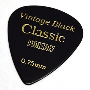 PICKBOY ギターピック/ビンテージ クラシックピック セルロイド ブラック 1枚 GP-07/075 (代引不可)|ajewelry