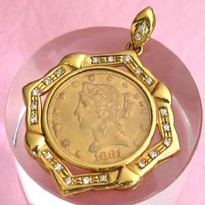 K18ゴールド枠/1881年アメリカ金貨 $5 ペンダントトップ(代引不可)|ajewelry