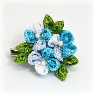 手作り つまみ細工/髪飾り 花 和装小物 ヘアアクセサリー ブローチ コサージュ ブルー(代引不可)|ajewelry