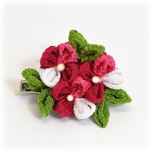 手作り つまみ細工/髪飾り 花 和装小物 ヘアアクセサリー ブローチ コサージュ ピンク(代引不可)|ajewelry
