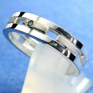 スターリングシルバー【ブルーダイヤモンド】ユニセックスリング (代引不可)|ajewelry