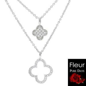PURE DAYS(ピュアデイズ) Fleur フルール/2連ペンダント キュービック 真鍮 フラワー 花 PFL-013(取寄せ/代引不可)|ajewelry