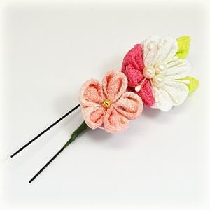 手作り つまみ細工/髪飾り 花 和装小物 ヘアアクセサリー ヘアピン Uピン(代引不可)|ajewelry