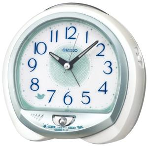 SEIKO セイコー 目覚まし時計/ネイチャーサウンド 鳥の鳴き声・ベル音・電子音が選べる/白パール色 QM748W(取寄せ/代引不可)|ajewelry