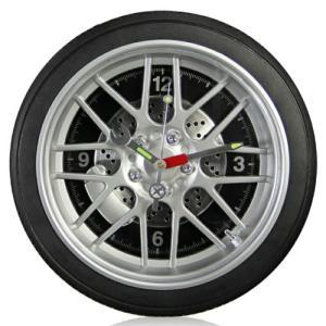 クオーツ掛時計/タイヤクロック ラージサイズ(14インチ)LEDライト付き/ブラック REH-WCL608HL-BK(取)タスク|ajewelry