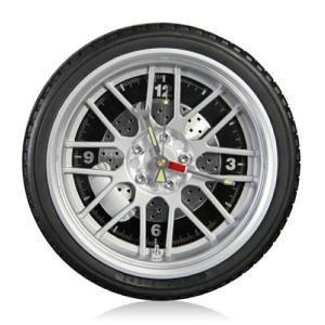クオーツ掛時計/タイヤクロック ミドルサイズ(10インチ)LEDライト付き/ブラック REH-WCL608QM-BK(取)タスク|ajewelry