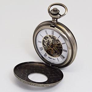 レジェントルイス/スケルトン懐中時計 手巻き ポケットウォッチ 両面開閉 蓋付き アンティークシルバー RL-AS(代引不可)|ajewelry