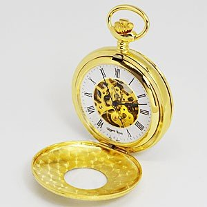 レジェントルイス/スケルトン懐中時計 手巻き ポケットウォッチ 両面開閉 蓋付き ゴールド RL-G(代引不可)|ajewelry