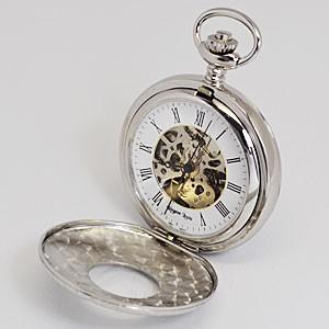 レジェントルイス/スケルトン懐中時計 手巻き ポケットウォッチ 両面開閉 蓋付き シルバー RL-S(代引不可)|ajewelry