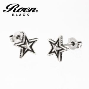Roen BLACK(ロエン ブラック)/スター ピアス 真鍮 チタンポスト シルバーカラー RO-108(取寄せ/代引不可)|ajewelry