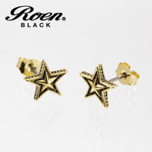 Roen BLACK(ロエン ブラック)/スター ピアス 真鍮 チタンポスト ゴールドカラー RO-109(取寄せ/代引不可)|ajewelry
