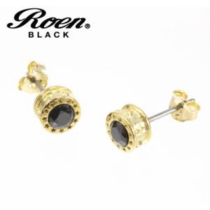 Roen BLACK(ロエン ブラック)/スター ピアス ブラックキュービック シルバー925 チタンポスト ゴールドカラー RO-112(取寄せ/代引不可) ajewelry