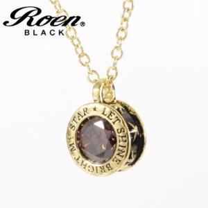 Roen BLACK(ロエン ブラック)/スター 星 ブラウンキュービック ペンダント 真鍮 ゴールドカラー RO-608(取寄せ/代引不可)|ajewelry