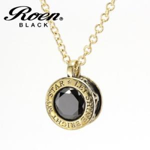 Roen BLACK(ロエン ブラック)/スター 星 ブラックキュービック ペンダント 真鍮 ゴールドカラー RO-609(取寄せ/代引不可)|ajewelry